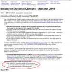 MyUW Insurance Options Screen